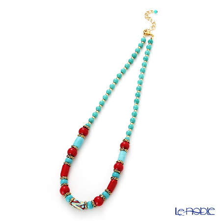 Primofiore / Venetian Glass 'CO1391' Turquoise Blue & Red Necklace 52cm