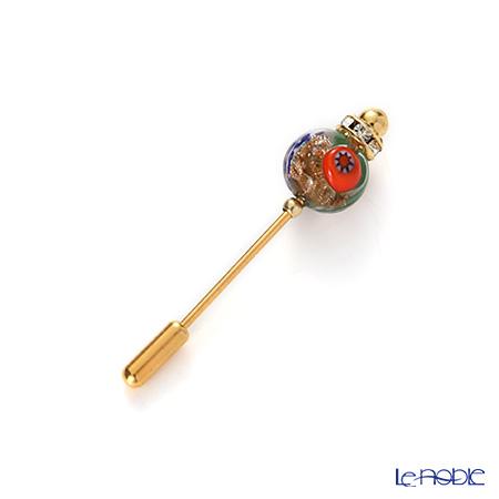 Primofiore / Venetian Glass 'Millefiori / Thousand Flowers' Orange & Green Pin 4.5cm (S)