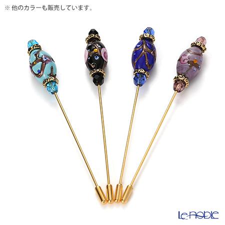 Primofiore / Venetian Glass 'Rose' Amethyst Purple Pin 10cm (L)
