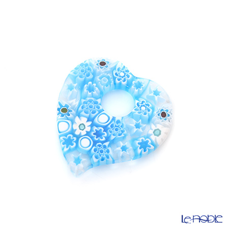 Ercole Moretti 'Millefiori / Thousand Flowers' Light Blue Mix Heart Pendant