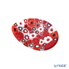 Ercole Moretti 'Millefiori / Thousand Flowers' Red Oval Plate 7x5cm