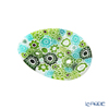 Ercole Moretti 'Millefiori / Thousand Flowers' Green Oval Plate 7x5cm