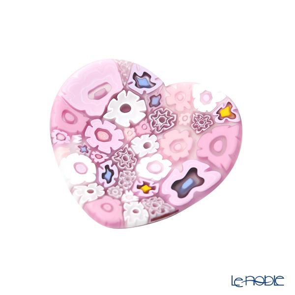 Ercole Moretti 'Millefiori / Thousand Flowers' Pink Heart Plate 7cm