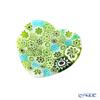 Ercole Moretti 'Millefiori / Thousand Flowers' Green Heart Plate 7cm