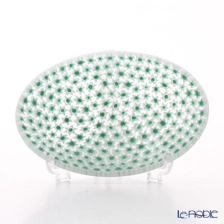 Ercole Moretti Millefiori Green x White Oval Plate 11.3x7.5cm