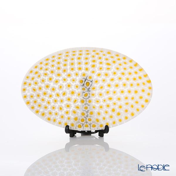 Ercole Moretti millefiori oval plate Yellow / white 59 7.5 x 10.5 cm