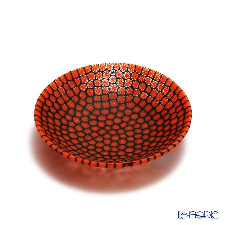 エルコーレモレッティ ミレフィオーリ プレート 13cm オレンジレッド×ブラック(15)