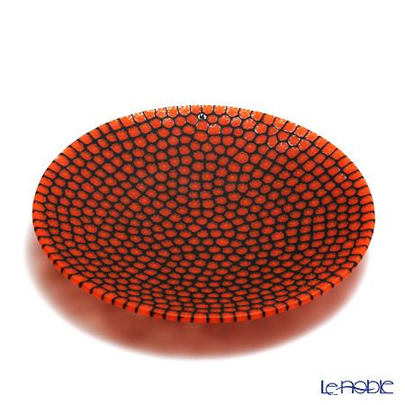 エルコーレモレッティ ミレフィオーリ プレート 19cm オレンジレッド×ブラック(15)