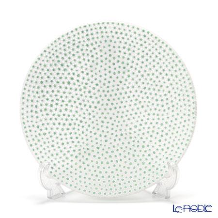 Ercole Moretti 'Millefiori / Thousand Flowers' Green x White Round Plate 24cm