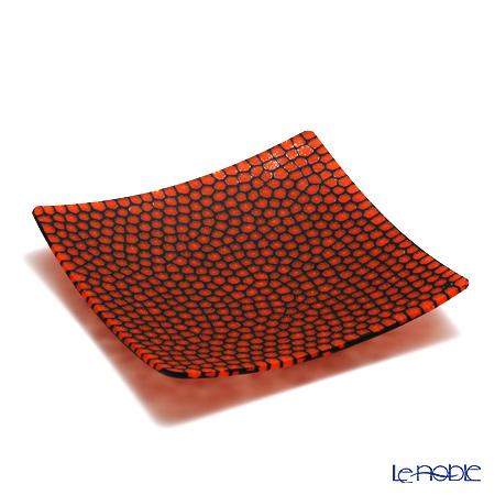 エルコーレモレッティ ミレフィオーリ プレート 18×18cmオレンジレッド×ブラック(15)