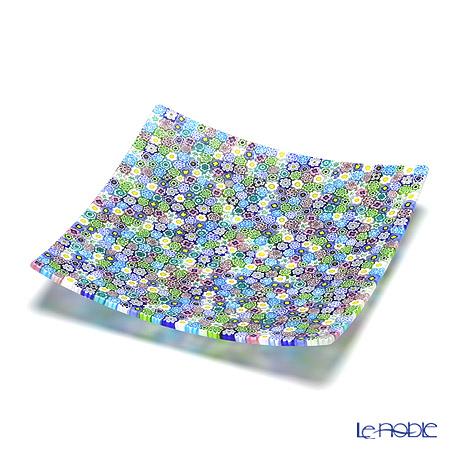 エルコーレモレッティ ミレフィオーリ プレート 18×18cmパステル多彩(200)