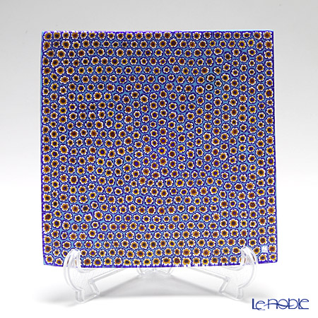 Ercole Moretti 'Millefiori / Thousand Flowers' Blue x Red x Yellow Square Plate 17.5x17.5cm