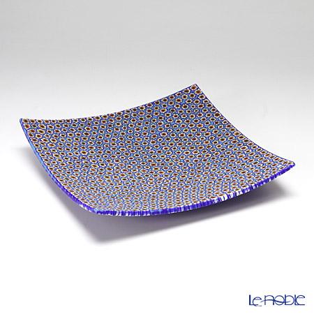 エルコーレモレッティ ミレフィオーリ プレート 18×18cm ライトブルー×イエロー(19)