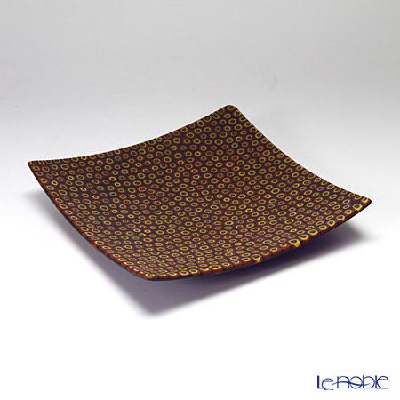 Ercole Moretti Millefiori Cobalt Blue x Orange Cell Square Plate 17.5x17.5cm