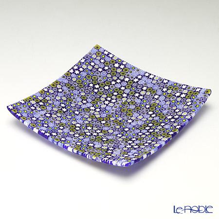 エルコーレモレッティ ミレフィオーリ プレート 18×18cmブルー系(212)