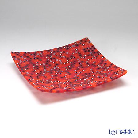 エルコーレモレッティ ミレフィオーリ プレート 18×18cm レッド系(213)