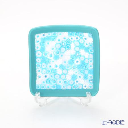 Ercole Moretti Millefiori Light Blue Mix / Turquoise Frame Small Square Bowl 8x8cm