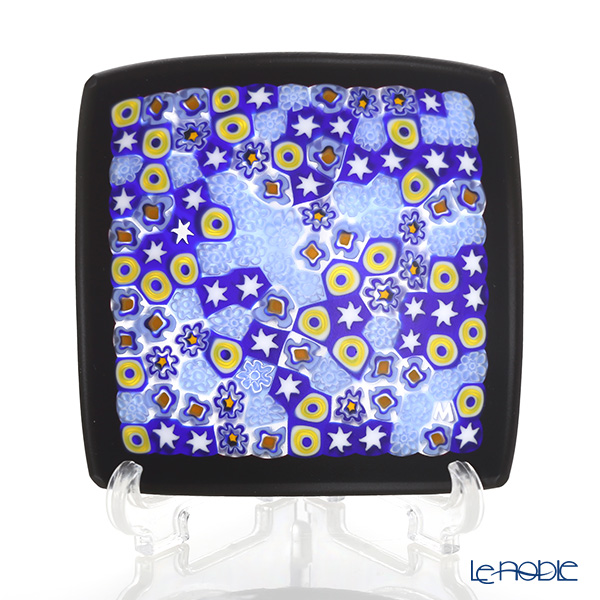 Ercole Moretti 'Millefiori / Thousand Flowers' Blue Mix / Black Frame Small Square Bowl 7.8x7.8cm