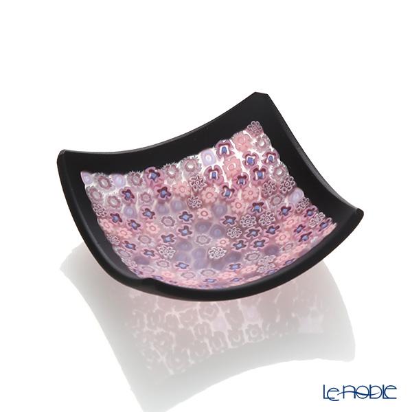 エルコーレモレッティ ミレフィオーリ スモールボウル 8×8cm ピンク系(214) ブラックフレーム
