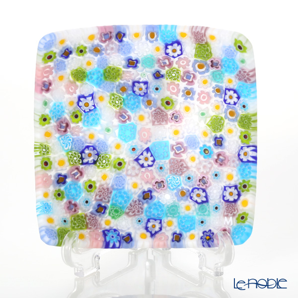 Ercole Moretti 'Millefiori / Thousand Flowers' Pastel Color Mix Small Square Bowl 7.8x7.8cm