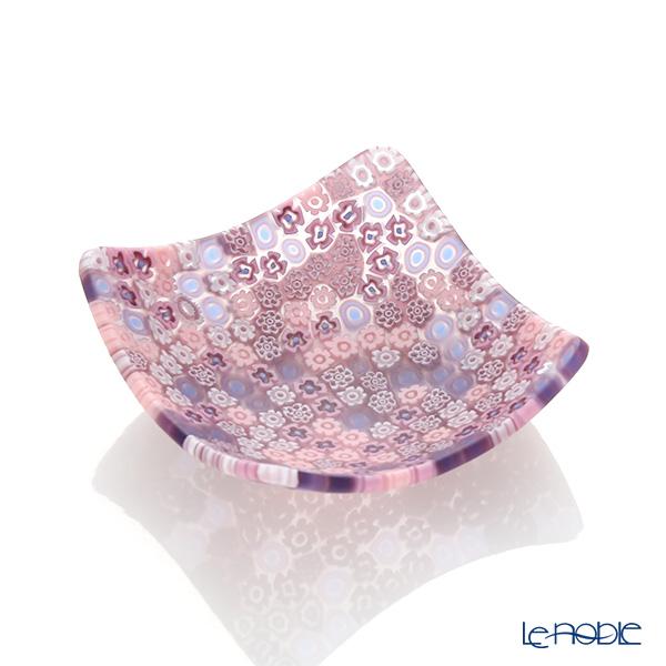 Ercole Moretti Millefiori Pink Mix Small Square Bowl 7.8x7.8cm