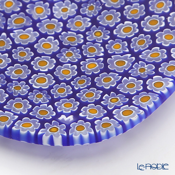 Ercole Moretti 'Millefiori / Thousand Flowers' Yellow x Cobalt Blue Flexi Square Plate 8x8cm