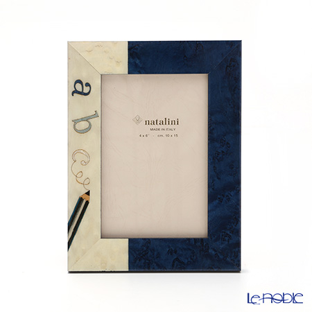 ナタリーニ 象嵌フォトフレーム 10×15cm abc エイビーシー ブルー
