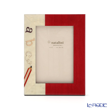 Natalini 'ABC Letters' Red Italian Marquetry Picture Frame
