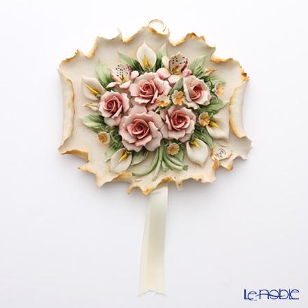 Capodimonte porcelain flowers wall decoration F428 rose bouquet pink L