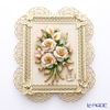 Capodimonte 'Porcelain Flowers' OC30 White Rose Bouquet (M) with Gold Lace Frame / Wall Decor