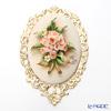 Capodimonte porcelain flowers gold-rimmed oval OC20 rose's