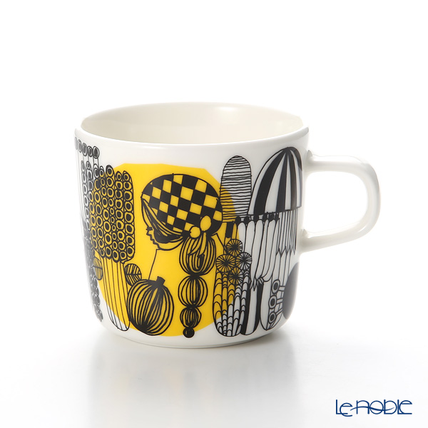 Marimekko Siirtolapuutarha / City Garden White x Black x Yellow Coffee Cup 200ml