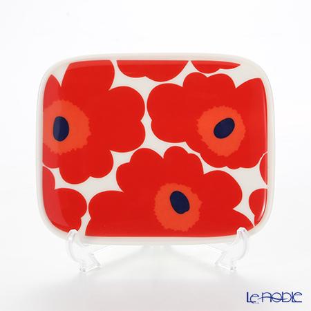 Marimekko 'Unikko / Poppy' White x Red 063436-001 Plate 15x12cm