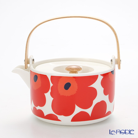 Marimekko 'Unikko / Poppy' White x Red 063435-001 Tea Pot 17cm