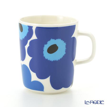 Marimekko 'Unikko / Poppy' White x Blue 063431-017 Mug 250ml