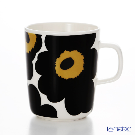 Marimekko 'Unikko / Poppy' White x Black 063431-030 Mug 250ml