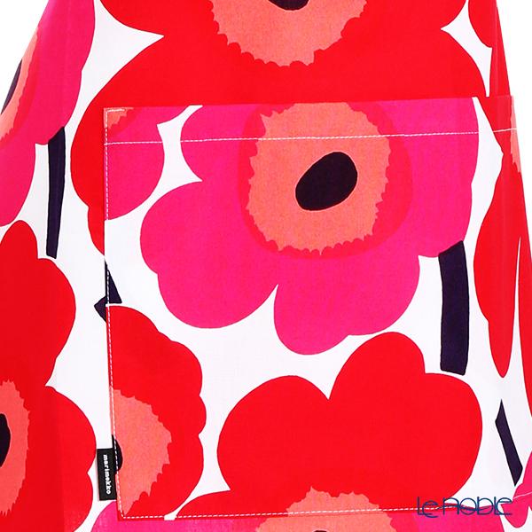 Marimekko 'Pieni Unikko / Poppy' White x Red 064161-001 Apron 83x83cm (Cotton)
