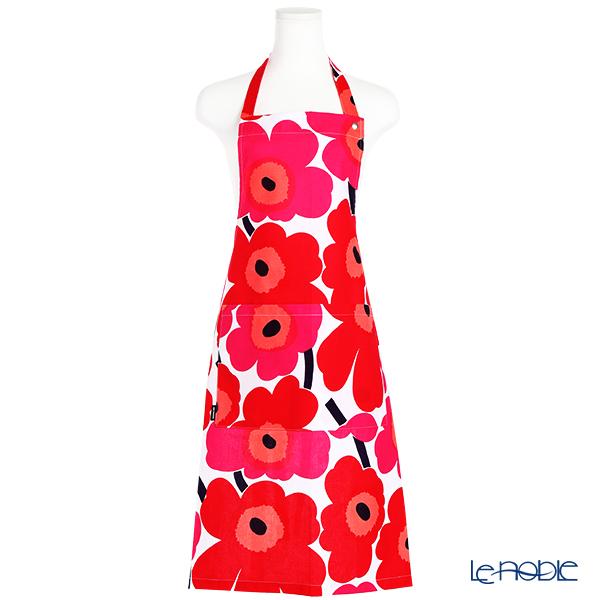 Marimekko 'Pieni Unikko / Poppy' White x Red Apron 83x83cm (Cotton)