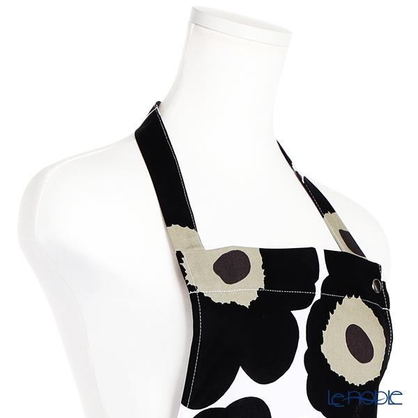 マリメッコ(marimekko) Pieni Unikko ピエニ ウニッコエプロン ホワイト×ブラック 着丈83×身幅83cm コットン