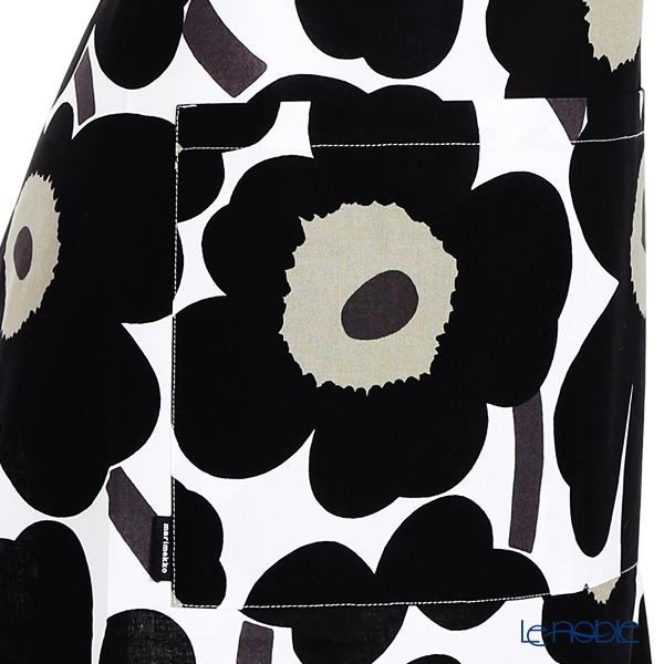 Marimekko Pieni Unikko / Poppy White x Black Apron 83x83cm (cotton)