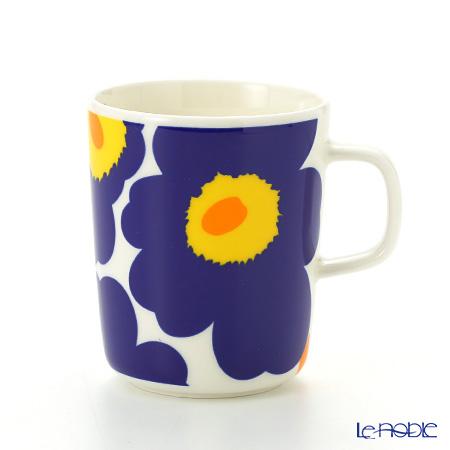 Marimekko 'Unikko / Poppy' White x Dark Blue Mug 250ml