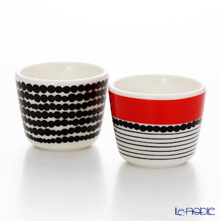 Marimekko 'Siirtolapuutarha / City Garden' White x Black x Red Egg Cup (set of 2)