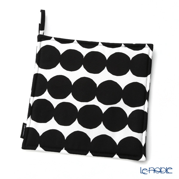Marimekko 'Rasymatto / Rag Rug' White x Black Pot Holders  21x21cm (Polyester)