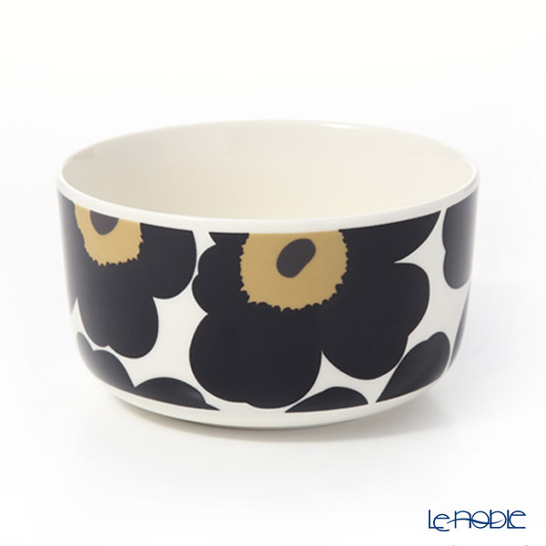 Marimekko Pieni Unikko / Poppy White x Black Bowl 500ml