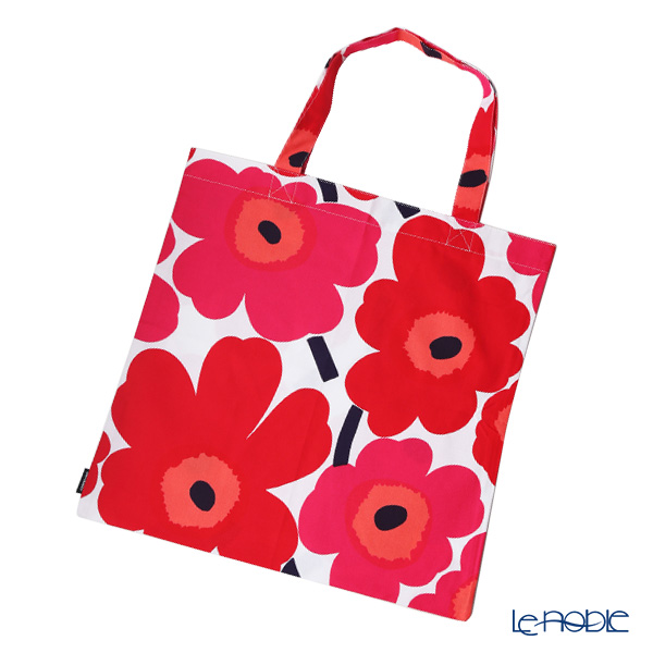 Marimekko Unikko / Poppy White x Red Fabric Bag 43cm (cotton)