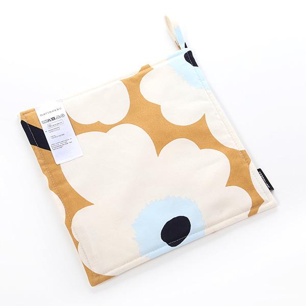 Marimekko 'Pieni Unikko / Poppy' Beige x Off White x Blue Pot Holder 21x21cm (Polyester)