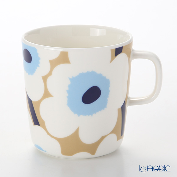 Marimekko 'Unikko / Poppy' Beige x Off White x Blue Mug 400ml