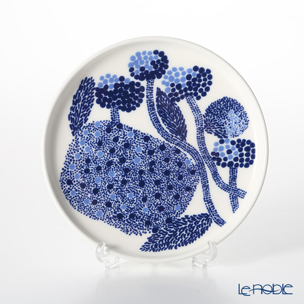 Marimekko 'Mynsteri / Pattern for Making Bobbin Lace' White x Blue Plate 13.5cm
