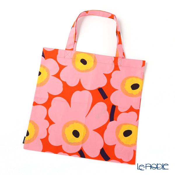 Marimekko 'Unikko / Poppy' Orange x Pink x Yellow Fabric Bag 43cm (Cotton)