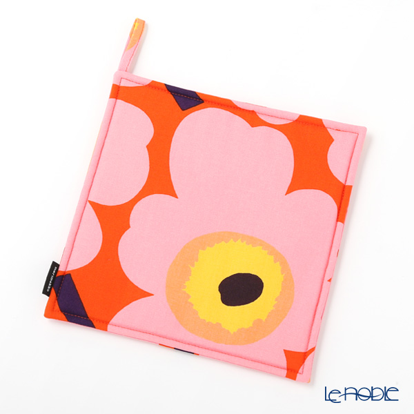 Marimekko 'Unikko / Poppy' Orange x Pink x Yellow Pot Holder 21x21cm (Polyester)